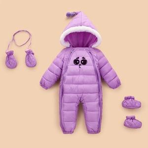 Image 5 - 2020 ファッション新しい女の赤ちゃん外出秋冬ジャケット子供ダウン綿garmet新生児暖かい快適なジャンプスーツ
