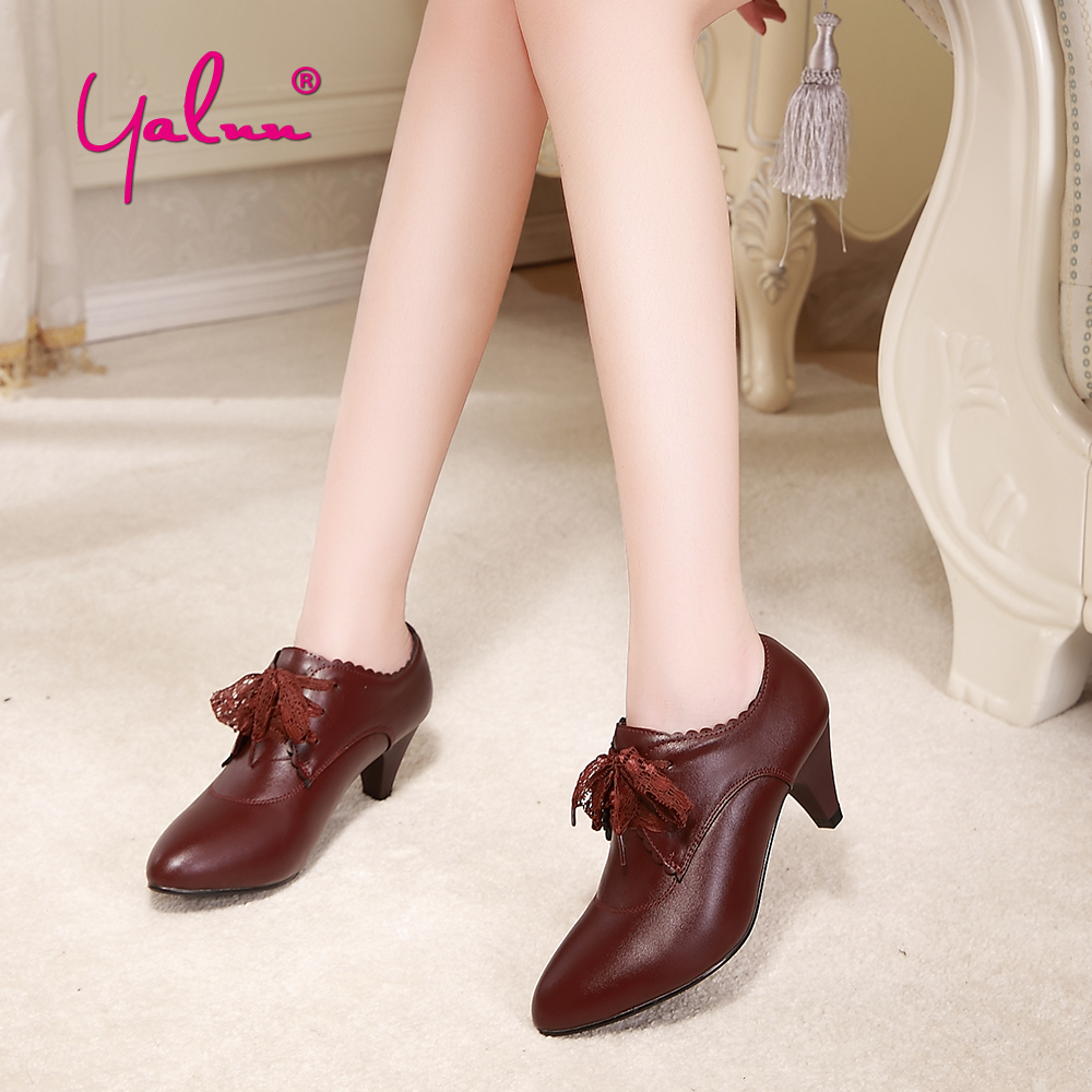 Leather Spike Heels Women Pointed Toe Lace Up Shoes Autumn -8179