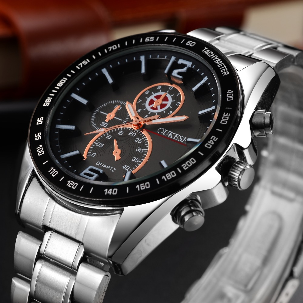 OUKESHI Luxury Top Brand Men's Watch tungsten steel Wrist Watch waterproof Business Quartz watch Fashion Casual sport Watch 2017