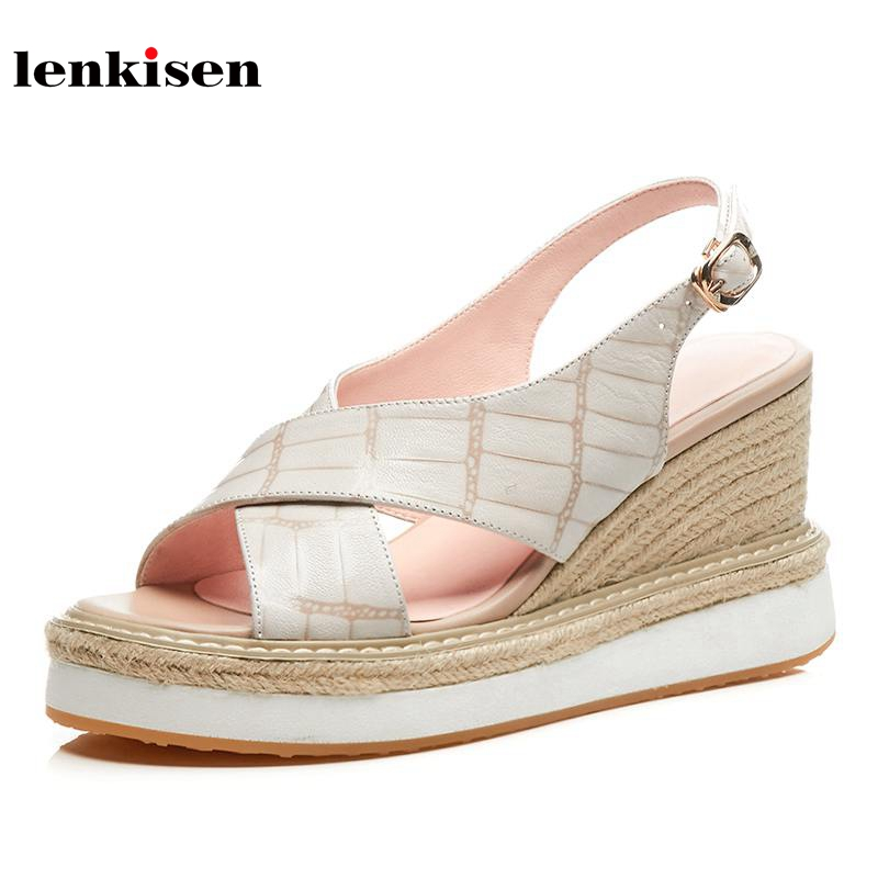 Lenkisen sheep leather big size wedges summer shoes concise slingback high heels solid platform classic style women sandals L43 lenkisen genuine leather big size wedges summer shoes gladiator super high heels straw platform sweet style women sandals l45