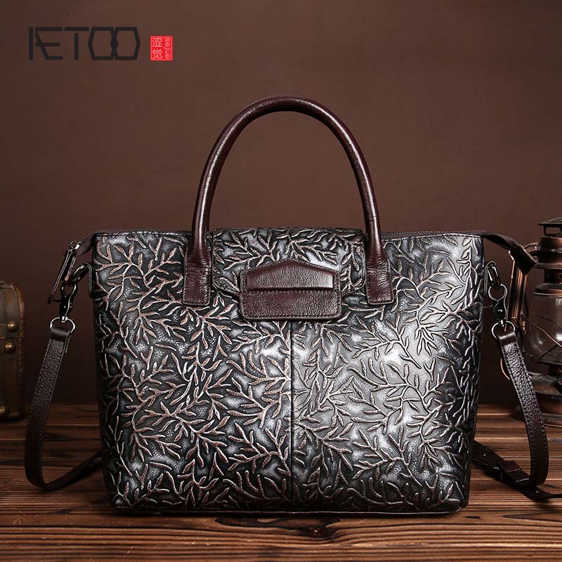 The new brush color embossed leather bag retro fashion ladies Satchel Handbag Shoulder Bag Messenger Bag tide 2018 new leather handbag summer ladies messenger bag leather embossed fashion shoulder bag
