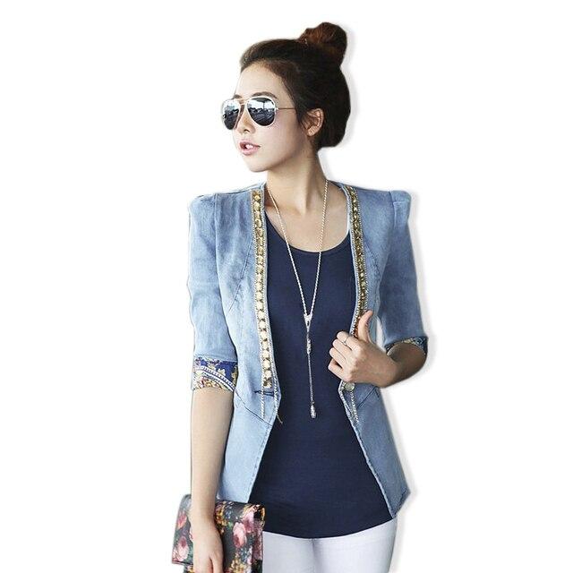 Plus Size New Diamond Floral Print Women Short Jeans Denim Jackets