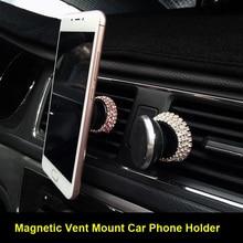 Diamond Crystal Car Phone Holder Magnetic Air Vent Mount Mob