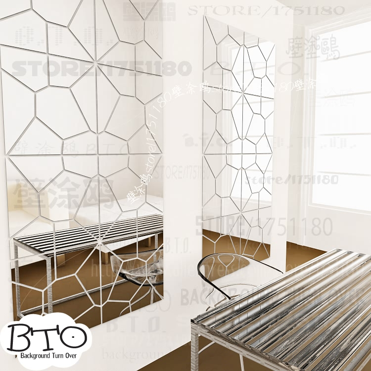 Hot selling crystal shape abstract 3d mirror wall stickers bedroom living room sofa wall decal interior hair salon decor R238
