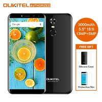 Oukitel C8 5.5 inch 18:9 HD Screen Mobile Phone MTK6580A Quad Core 2GB RAM 16GB ROM 13MP Android 7.0 3000mAh Touch ID Smartphone