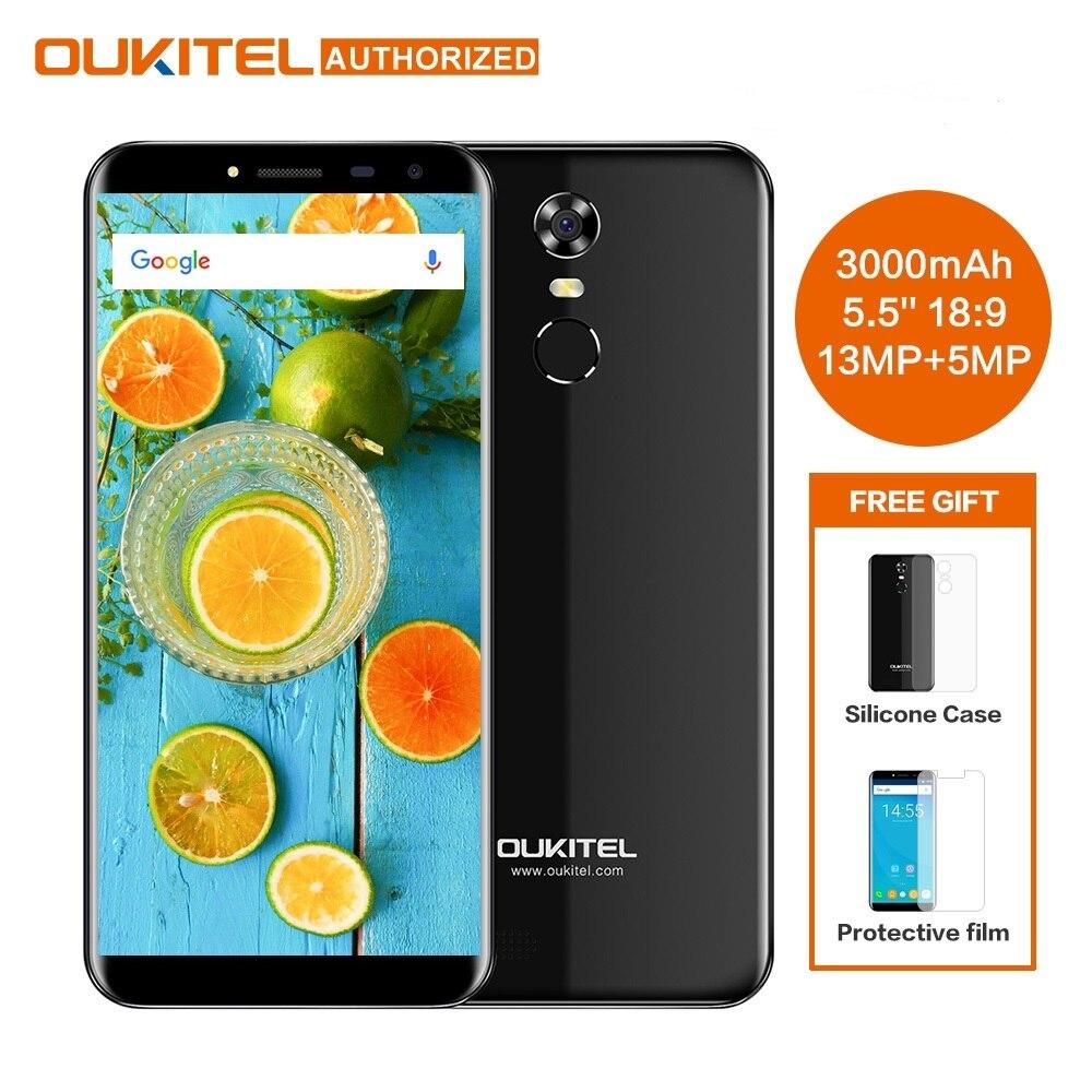 Oukitel C8 5,5 pulgadas 18:9 HD pantalla teléfono móvil MTK6580A Quad Core 2 GB RAM 16 GB ROM 13MP Android 7,0, 3000 mAh Touch ID del teléfono móvil