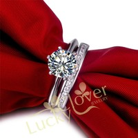TRS02 Wax setting 3 Carat NSCD Synthetic Gem wedding ring set,bridal set, engagement ring set for women With packing