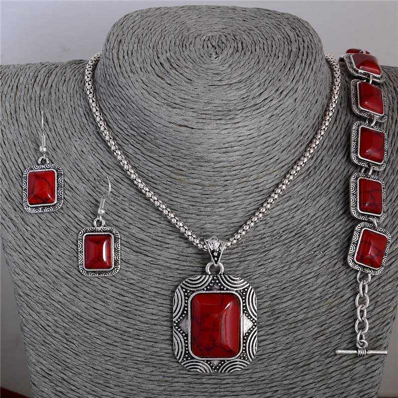 SHUANGR Vintage Red Jewelry Sets Square Natural Stone Pendant Necklace Earrings Bracelets Women bijoux femme