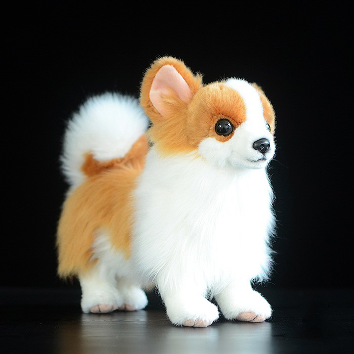 21cm Kawaii Simulation Pomeranian Plush Toys Soft Standing Version Yellow Dog Stuffed Toy Dolls Kids Toys Gifts lefard фигурка jada 3х4х7 см