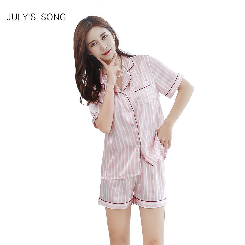 JULY'S SONG Women 2 pieces Sleepwear   Pajama     Set   V-Neck Sleeveless Pyjamas Pink Cute Faux Silk Nightwear Shirt And Shorts
