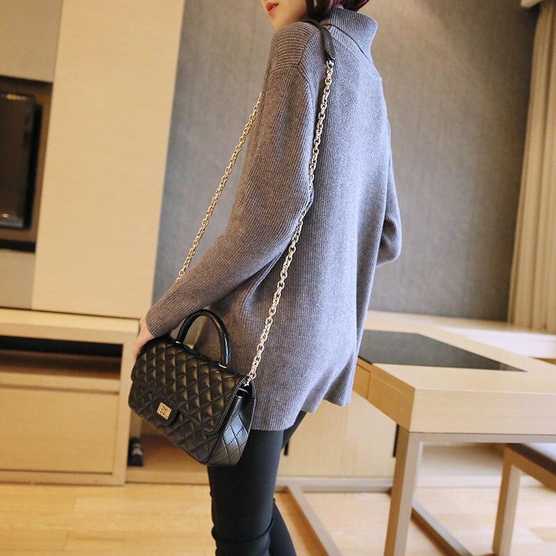 Automne D'hiver Haut Et Nouvelle Taille dark Blue 2018 Section gray De Femmes Chandail Mode Longue Col Creux Lâche Pull Grande Black Femelle ESIqw7nF