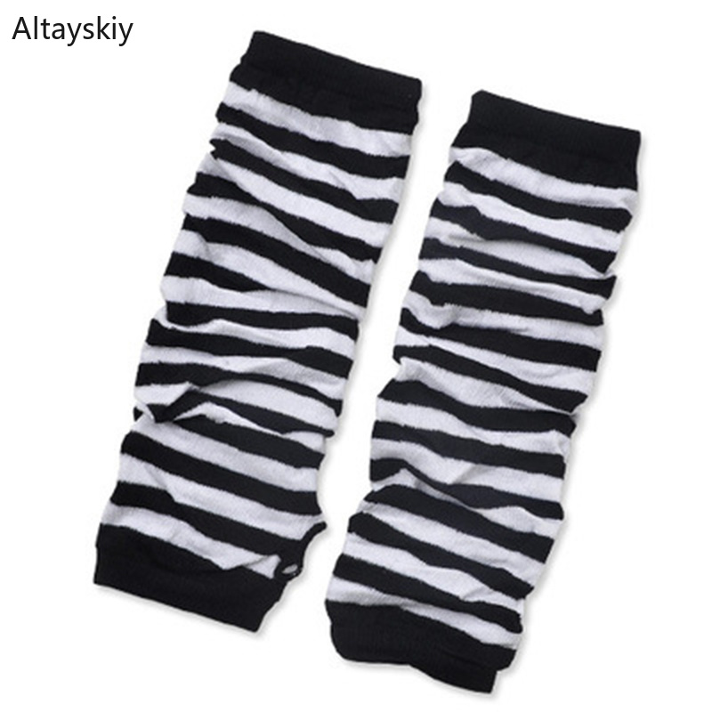Arm Warmers Women Striped Finger-less Half-fingered Womens False Sleeves Korean Style Solid Trendy Leisure All-match Simple Soft