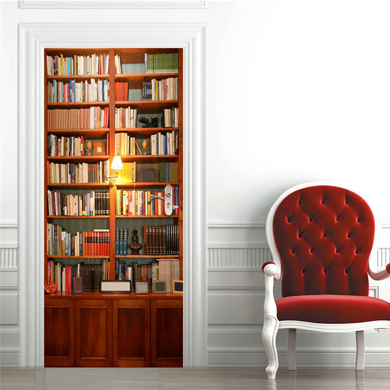 Bookcase 3D View Door Stickers Book Shelf Door Mural Library Art Vinyl Decal For Home De ...