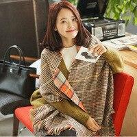 Woman Winter Acrylic Cashmere Tartan Plaid Scarf Brand Blanket Shawl Designer Pashmina Wrap Stole For Lady