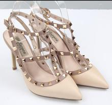 2017 New Rivets Pointed High-Heeled Shoes Genuine Leather Strap Thin Heel Sandals candy color women pump shoes for girl
