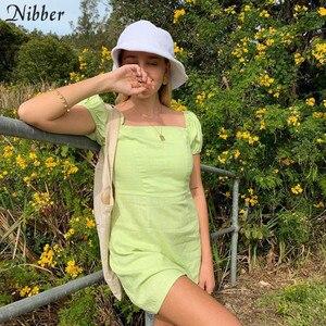 Image 2 - Nibberフレンチロマンスエレガントなミニドレス女性 2019 夏のオフィスの女性ハイストリートビーチレジャー休暇ショートドレスmujer