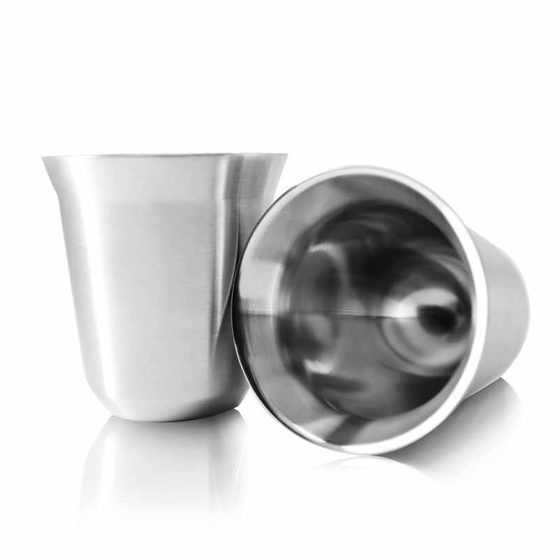 Stainless Steel Espresso Cups Double Wall Vacuum Insulated - Set Of 2 Demitasse Cups By Tombert 80mL (2.7 Ounce)