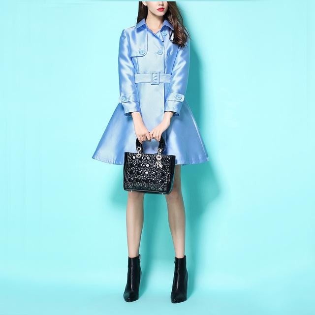 2016 A Principios de Otoño de Las Mujeres de Moda Luz Azul Doble de Pecho Outwear Vintage Inglaterra Viento OL Trinchera Abrigo Elegante Femenina Abrigos