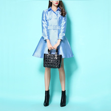 2016 Early Autumn Fashion Women's Light Blue Double Breasted Outwear Vintage England Wind OL Trench Coat Elegant Female Coats