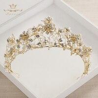 Bavoen Fashion Brides Faux Pearls Tiara Crown Crystal Gold Flowers Headpieces Wedding Hair Accessories