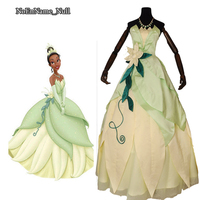Dorosłych kobiet dziewczyna princess dress tiana cosplay kostiumy zielona piętro-długość ballgown halloween cosplay ubrania