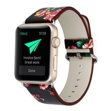 Applicable To for APPLE WATCH Apple Leather Strap Farmhouse Style Pastel Floral Series Watch Iwatch Wristband