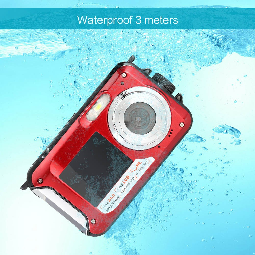 Freeshipping 24MP 1080P HD Waterproof Camera Digital Dual Screen Compact Digital Cameras Marco Shooting 550mA Lithium Battery