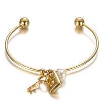 Fashion Jewelry Individuality Gold Bracelet Key Lock Charm Bracelet For Women
