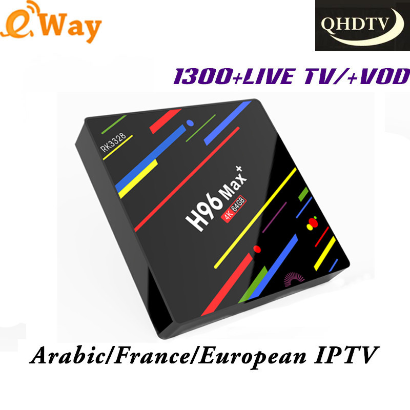 H96 MAX+ 4K HD Smart Tv Box Europe 1300 Channels QHDTV IPTV 1 Year Subscription Italy Arabic Germany French Europe IPTV Tv Box