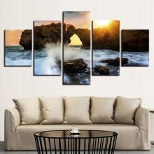 Canvas Painting Rocky Beach with sunset 5 Piece Wallpapers Art Print Poster Modular art painting Home Decor Framework