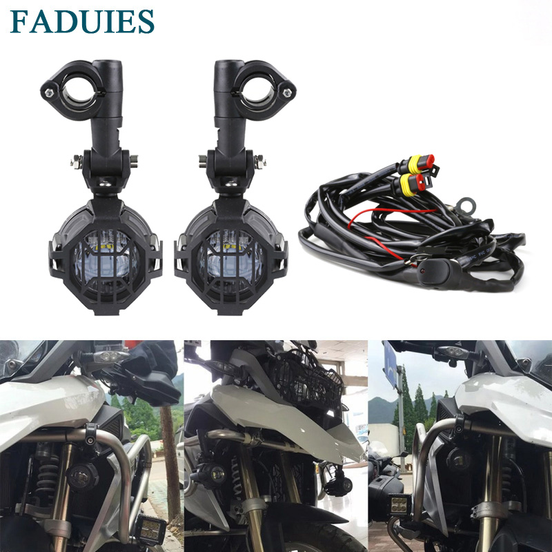 FADUIES For BMW Motorcycle LED Auxiliary Fog Light Driving Lamp Motocycle Fog Lights For BMW R1200GS/ADV K1600 R1200GS R1100GS цена