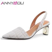 Купить с кэшбэком ANNYMOLI Slingbacks Shoes Women High Heels Natural Real Leather Thick Heels Shoes Genuine Leather Pointed Toe Pumps Size 4-9 40