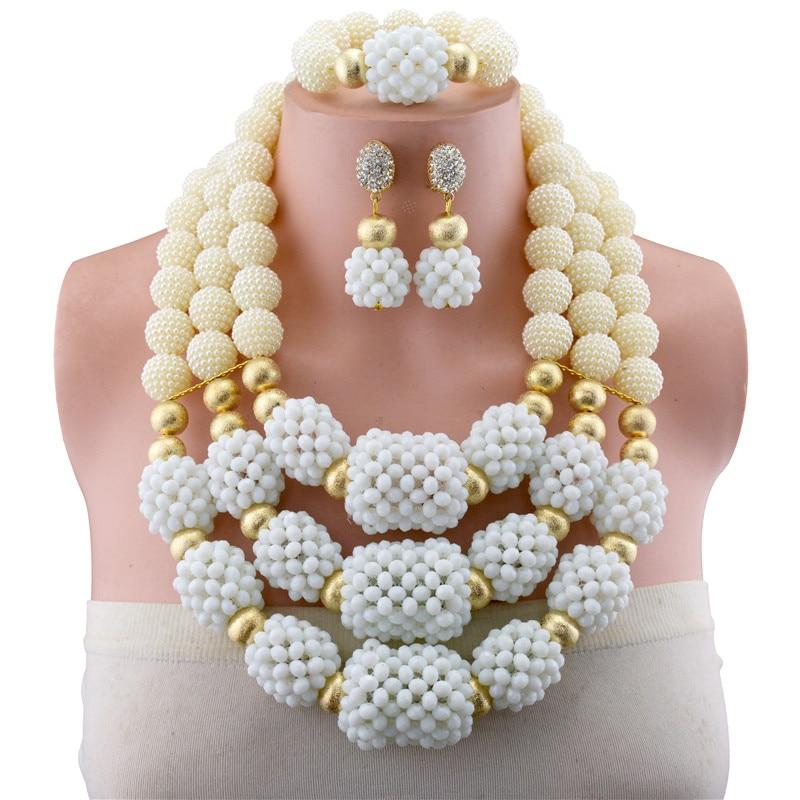 Perles de cuivre blanc perles africaines ensembles de bijoux 2018 ensembles de bijoux de mariée et plus de perles de mariage nigérian collier africain pour les femmes