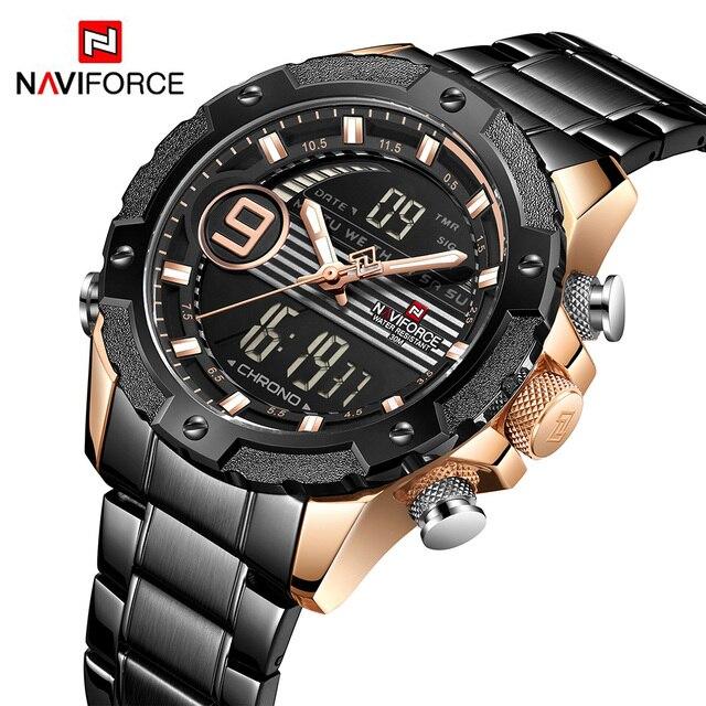 NAVIFORCE 9146 s למעלה יוקרה מותג גברים שעונים צבאי עמיד למים LED דיגיטלי ספורט Mens שעון זכר שעון יד relogio masculino