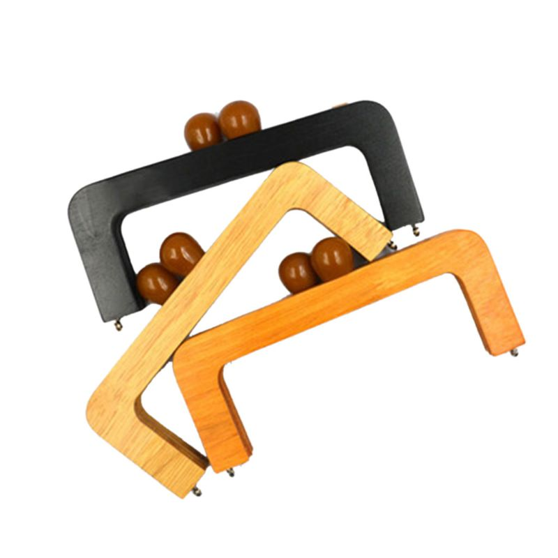 Fashion New 1 Pc 20X8cm Wooden Purse Frame Closures DIY Handbag Handle Replacement For Change Bag Accessories Women 3 Colors