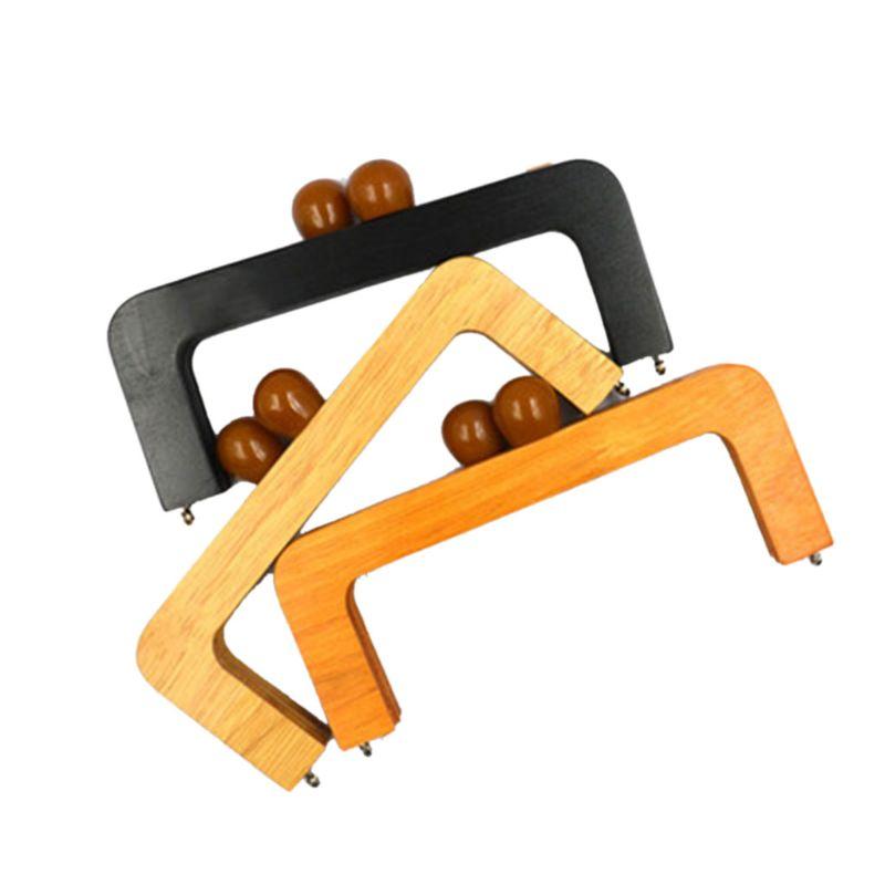 Fashion New 1 Pc 20X8cm Wooden Purse Frame Closures DIY Handbag Handle Replacement For Change Bag Accessories Women 3 Colors