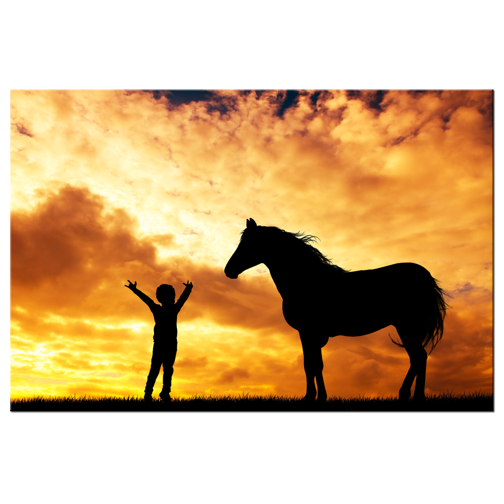 Horse And Child Sunset Silhouette Painting Large Giclee Canvas Prints Africa Landscape Picture Photo Modern Animal Horse Artwork