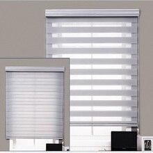 Индивидуальные двойной чистой джутовой ткани день и ночь моторизованный ручной рулонные шторы с зебровым принтом для окон