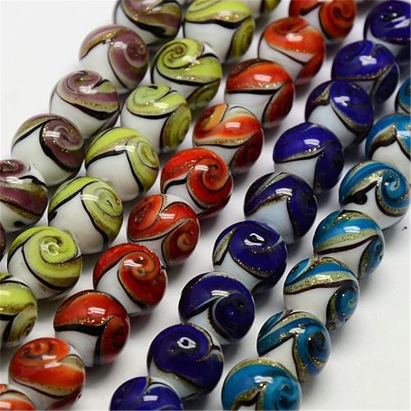 Handmade Gold Sand Round Glass Lampwork Beads Strands for Jewelry Making 12mm Hole 2mm about 16pcs