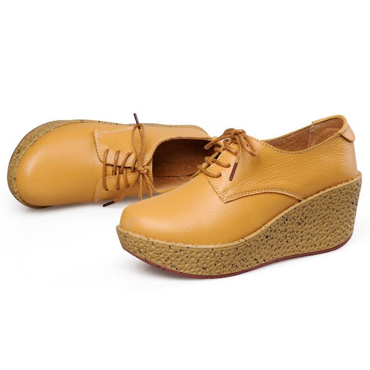 Femmes jaune Compensées orange Femme Véritable marron Célibataires Plate Pompes Noir Talons Haute En Chaussures forme Coins Casual Cuir Texiwas IwHqUnEcp