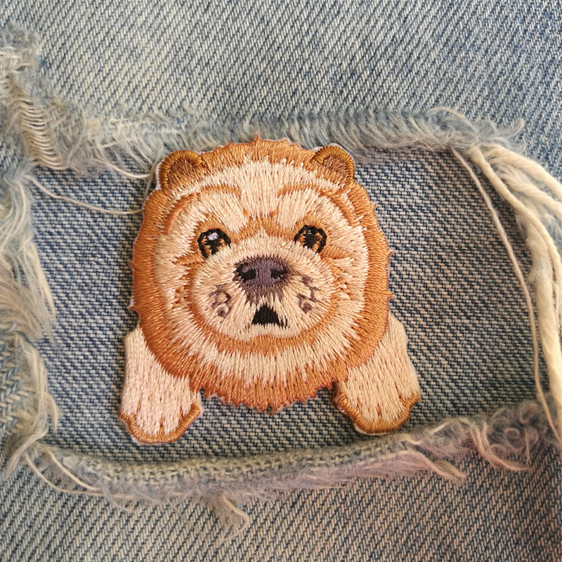 1 PIC 4.0*4.0CM Embroidered Cloth Computer Embroidered Badge DIY CHOWCHOW DOG Decorative Patch