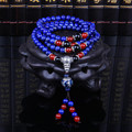 New Natural Lapis 108 Bead Bracelet Silver Jewelry Tibetan Buddhist Rosary Prayer Beads