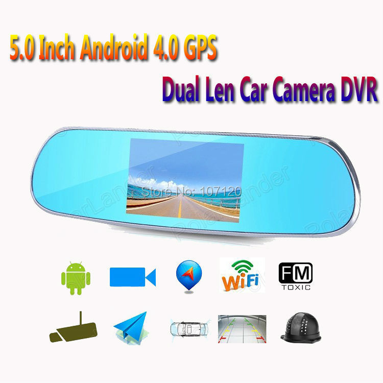 2018 new High Quality 5 Inch Android DVR WIFI Night Visoin Maps Cam Video Recorder Dual Lens Mirror for most car