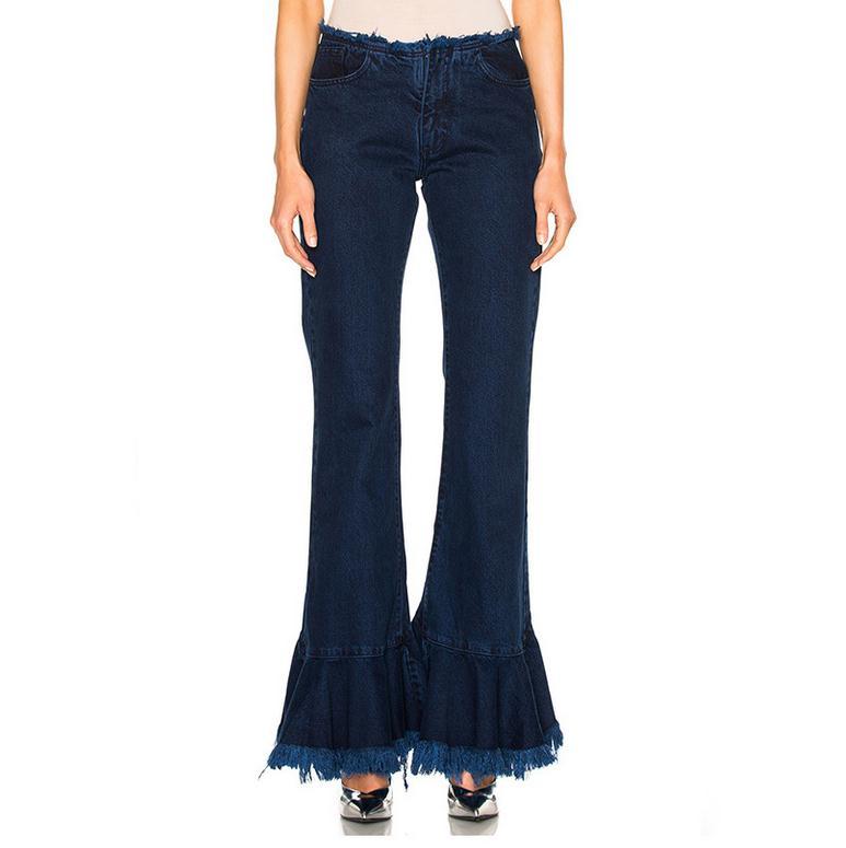 ФОТО Ruffles Winter High Waist Dark Denim Split Long Section Tassels Flares Skinny jeans D372