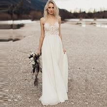 Lorie praia vestido de casamento com alças de espaguete 2018 vestido de noiva chiffon chiffon boho vestido de noiva trem varredura