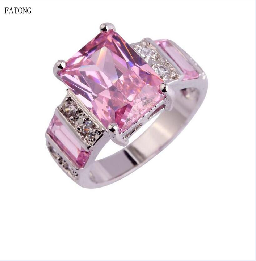 Square Pink Large Zircon Ring Russia 2018 Trend Womens Noble Temperament Jewelry t0847