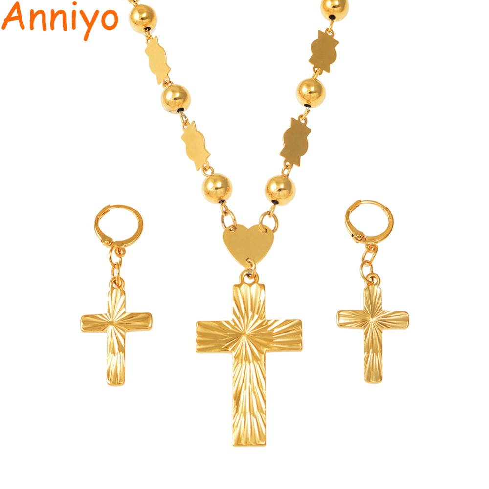 Anniyo Cross Pendant Earings Balls Bead Chain Necklaces for Women Micronesia Pohnpei Marshall Chuuk Jewelry Sets #159206
