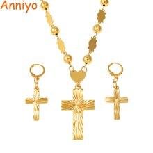 Anniyo cruz pingente brincos bolas grânulo corrente colares para mulher micronésia pohnpei marshall chuuk conjuntos de jóias #159206