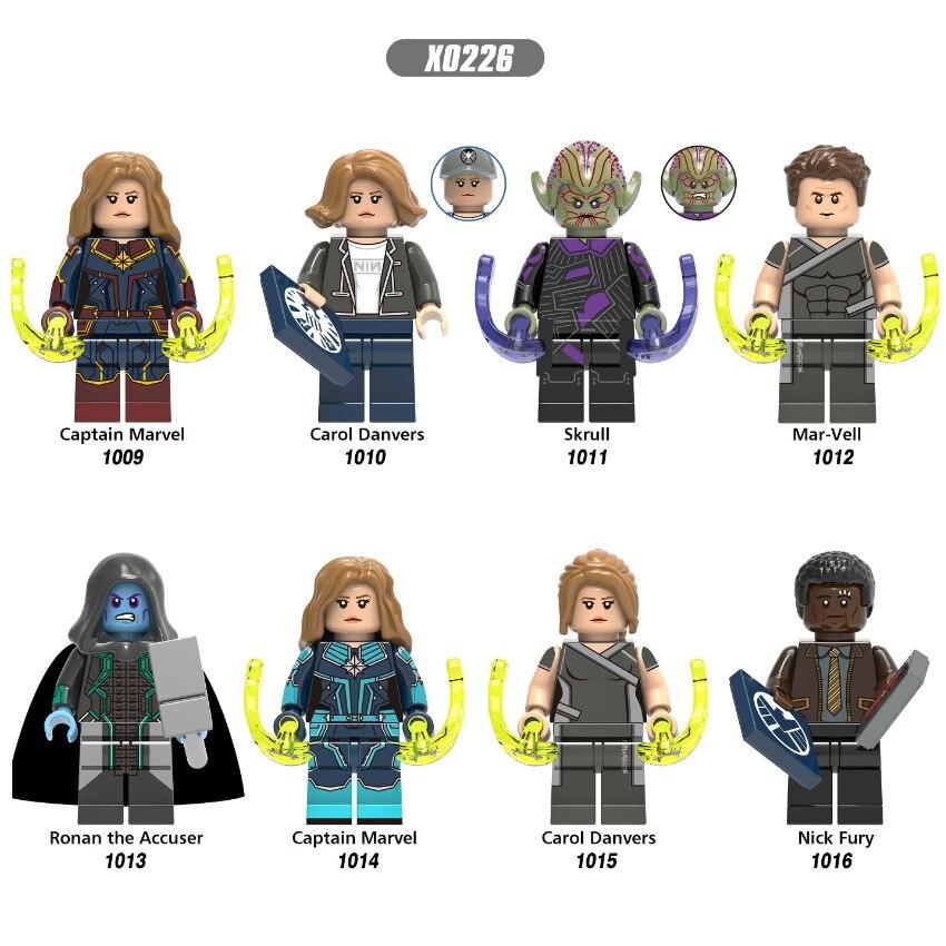 Legoings Figures Building Blocks Captain Marvel Carol Danvers Skrull Mar-Vell Nick Fury Bricks Model Toys For Children X0226