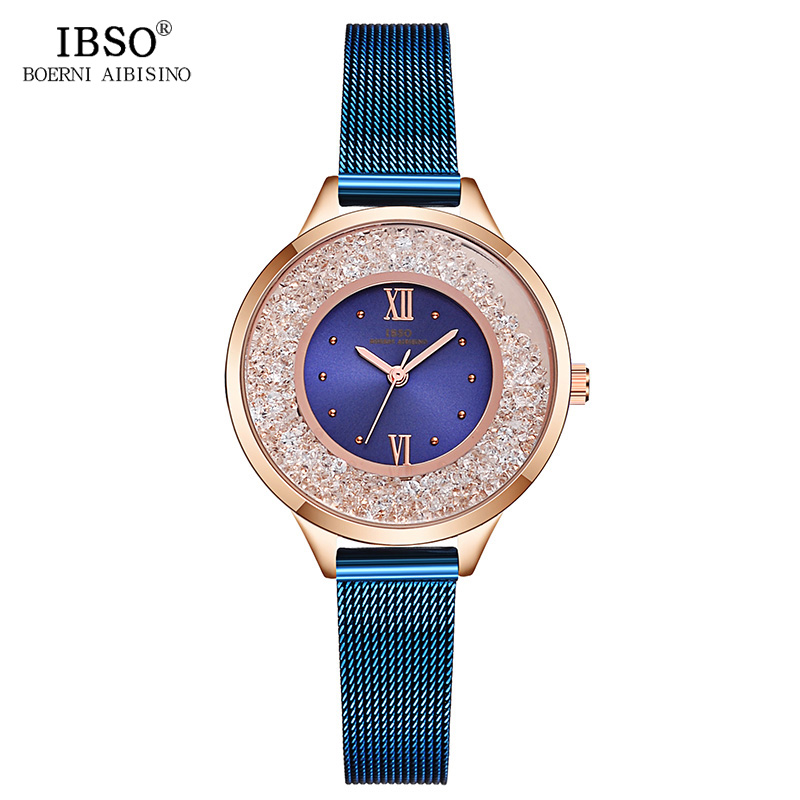 IBSO New Fashion Stainless Steel Mesh Strap Brand Quartz Watch Women Luxury Ladies Clock Montre Femme 2018 Women Watches ibso brand fashion ultra thin quartz watch women stainless steel mesh and leather strap women watches 2018 fashion montre femme